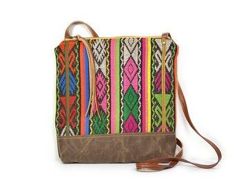 weekdayer • guatemalan textile - waxed canvas crossbody bag • handwoven striped textile - guatemala - brown waxed canvas - neon pink