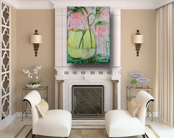 Pink and Yellow Acrylic Abstract painting pink Peony Flowers in Vase Heavy paint tons of texture original painting, contemporary art