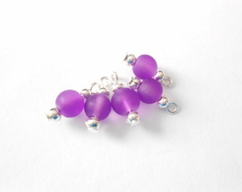 Frosted Purple Glass Dangle Beads
