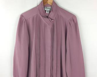 Joanna 80s Vintage Pale Purple Polyester Pleaded Blouse sz Medium