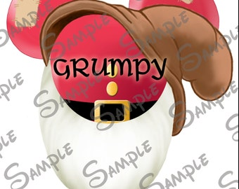 DIGITAL printable DIY Grumpy the Dwarf from Snow White Character Mickey head file can be Personalized for you!