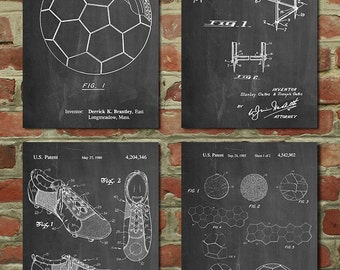 Soccer Patent Posters Group of 4, Soccer Gifts, Sports Decor, Soccer Mom, Soccer Wall Art, PP1188