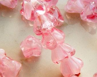 Czech Glass Baby Bell Flower Beads 6x4mm Crystal Pink (25 pk) SI-6x4F-CP