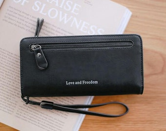 """Daemyn's Universal """"Love and Freedom"""" Long Clutch Purse and Phone Wallet"""