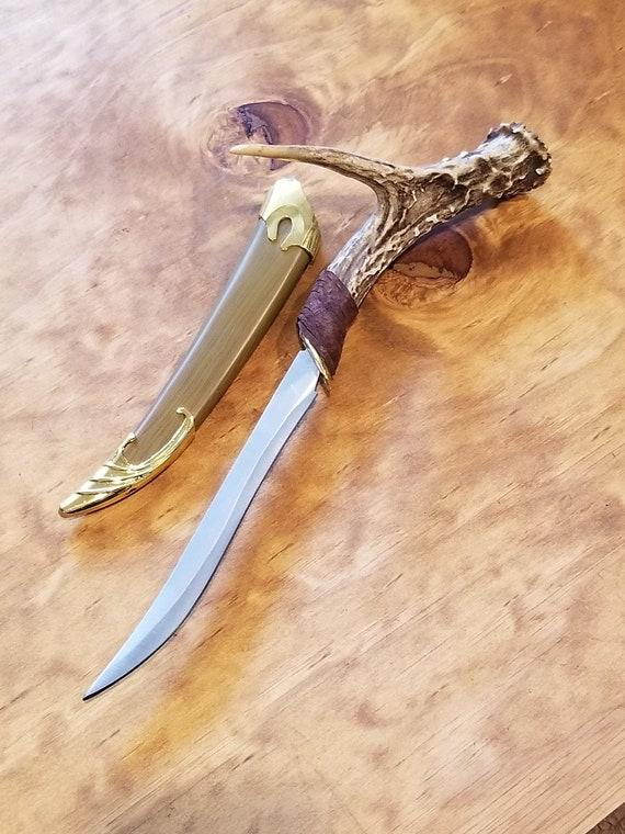 Deer Antler Steel Knife Elven Decorative Native American Style Outdoor Hunting Display Primal Buck Wood Elf Collection