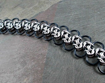 Chainmaille Bracelet - Black and Silver - Byzantine Weave - Chainmail Jewelry - Chain Bracelet - Chainmaille Jewelry