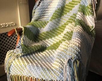Crochet & Weave Pattern Diagonal Double Weave Throw
