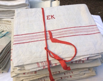Bauern Leinenhandtücher Handgewebt   Monogramm EK   8 Stück Rustikale  Leinentücher