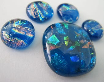 Five Caribbean Blue  Dichroic Glass freeform Cabochons