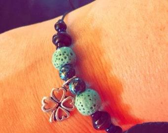 Clover diffuser bracelet, leather cord, lava stone, diffuser jewelry