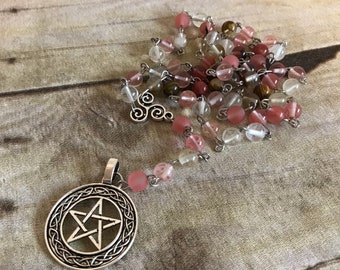 Cherry quartz pentacle rosary, pagan rosary, wiccan necklace, handmade, one of a kind, occult gift, celtic knot, celtic inspired