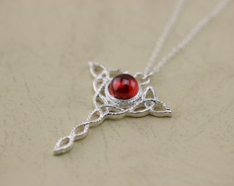 Celtic Knot Pendant Ruby Necklace Christmas Gifts