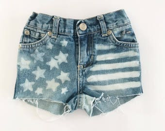 12-18 Months Baby Girl Distressed Bleached Denim Shorts - Little Girls 4Th Of July Shorts - Jean Shorts - Stars and Stripes - American Flag