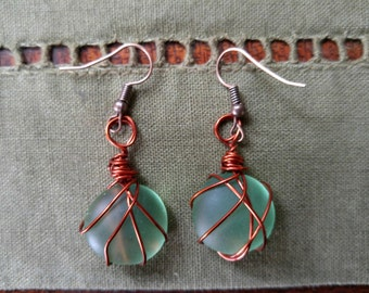 Sea glass bead earrings