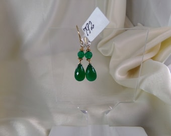Green onyx briolette with vermeil daisy ornament gold filled earrings gemstone handmade  item 792
