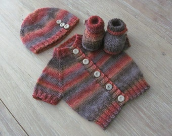 """Hand Knit Short-Sleeve Baby Cardigan, Hat & Booties Set in """"Artsie"""" Wool Blend with Vintage Taupe Buttons (0-3 months)"""
