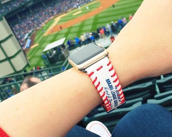 Apple iWatch strap. Apple watch strap is made from the leather of a real major league baseball!