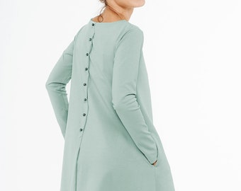 LeMuse menthe calme robe avec boutons