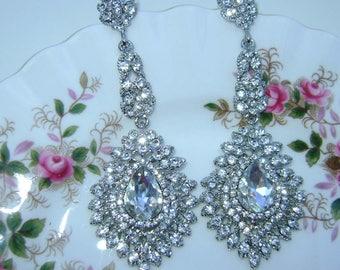 Silver Rhinestone Chandelier Earrings