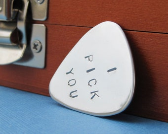 Personalized Father's Day Guitar Pick Custom Guitar Pick in Stainless Steel - I Pick You - Anniversary Gift Wedding Gift