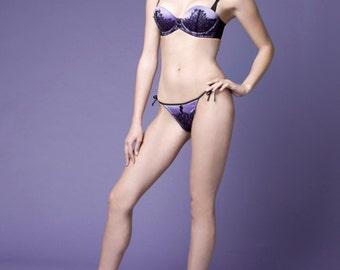 LAST ONE  Retro Pin Up Vintage Style Purple Satin Eyelash Lace Demi Bra & Panty Set