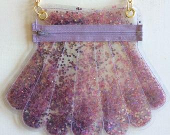 Purple Glitter Vinyl Seashell Purse