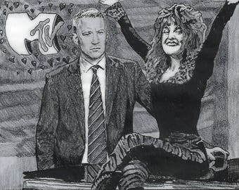 Pygmalion as Retold through Julie Brown and Anderson Cooper - Fine art drawing print on Giclee Paper