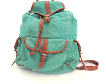 Vintage Backpack canvas green with leather stripes, Backpack Green Unisex, Hiking backpack, Camping backpack 80s, Summer trends