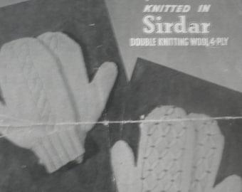 Vintage 1930's Lady's Mittens knitting pattern, Harrap Bros Design no 409