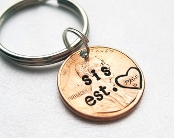 Custom Personalized Sis Est Lucky Penny Keychain, Best Friend Gift, for Her, Sister, Birthday, Best friend, Mother's Day, Bff, Bestie