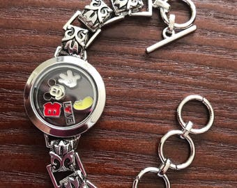 30mm Living Memory Glass Floating Charm Mickey Charm Bracelet
