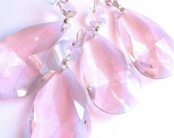 ONE Pink Teardrop Chandelier Crystal 63mm Prisms Almond