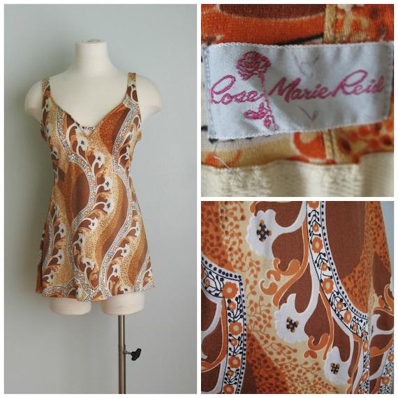 8c5703df3cf9 1960 s Brown Pattern Rose Marie Reid Bathing Suit