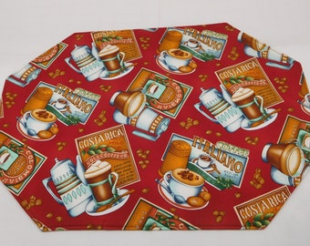 465 (4) Coffee Placemat Sets, Coffee Lovers Gift, Coffee Place Mats, Coffee Decor, Fabric Placemats,