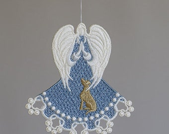 Blessed Fur Babies Angel, Embroidery Lace Angel, Angel with Service Dog, Angel Bookmark, Machine Embroidered Angel,