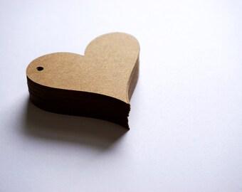 50 Kraft Paper Heart Tags