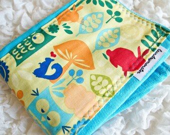 Baby Burp Cloth - owls in the forest hand dyed turquoise blue baby burp cloth