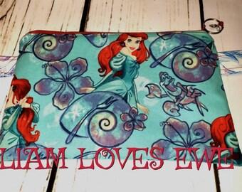 Zipper cosmetic bag, notions bag, wallet, pencils. Little Mermaid cosmetic bag/notions bag. Knitting, crochet, notions, cosmetics, pencils