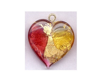 2-Sided Lampwork Glass HEART Pendant Red & 24K Gold Foil