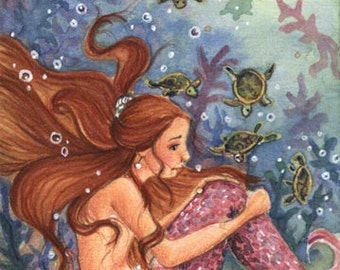 "ACEO ""Mermaid & Baby Turtles"", 3.5x2.5"", Limited Edition Print , mermaid fantasy illustration"