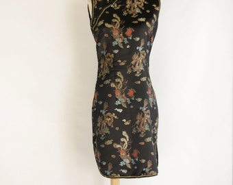 90s Black cheongsam dress. Black Chinese dress. Cheongsam summer dress. Black Asian dress. Vintage cheongsam dress. 90s Oriental dress