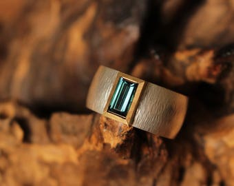 Tourmaline ring, silver ring with tourmaline, gold ring tourmaline, gold and silver ring with tourmaline, Indicolite,
