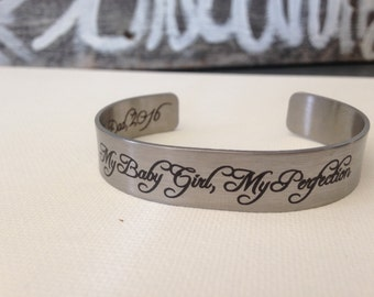 Custom - Mothers Day Gift - Personalized Bracelet - Cuff Bracelet - Engraved Bracelet - Custom - Stainless Steel - Silver - Personalized