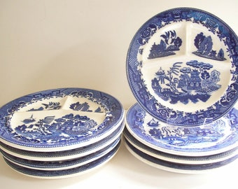 Blue Willow Chop Plates, Grill Plates, Set of 8, Chinoiserie Dinnerware, Asian Design, Vintage Divided Plates, Restaurant Ware, Diner China