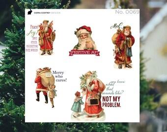 Sassy Santa stickers - 0069 Christmas stickers, santa stickers, sarcastic santa, sassy stickers, Happy Planner, Day Designer, Erin Condren