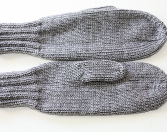 Knit Kids Mittens - Gray Mittens for Kids - Grey Kids Mittens on a String - Childrens Mittens with Cord - Kids Winter MIttens