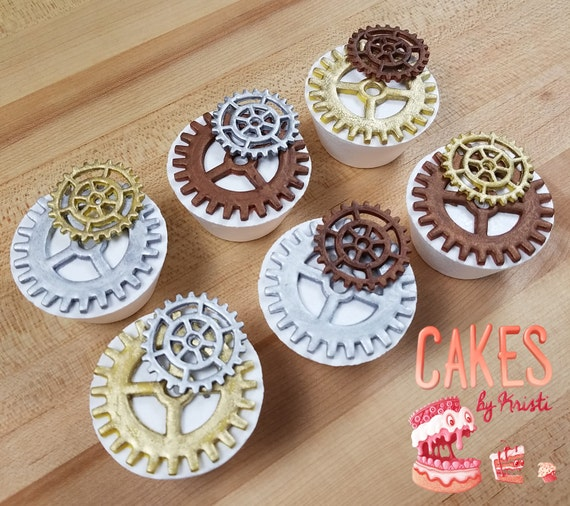 Fondant Steampunk Gear Cupcake Toppers (MADE TO ORDER)