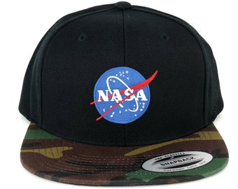 FLEXFIT NASA Small Insignia Space Embroidered Patch Snapback Cap with Camo Visor (6089TC-Insignia-Small-CAMO)