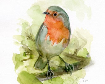 Red Robin Painting,Fine art / Giclee print of the original watercolor painting, bird painting, bird lovers gift