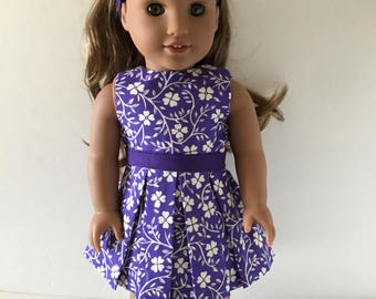 """Doll Dress - Purple with White Flowers Doll Dress Fits 18"""" Dolls such as American Girl and others"""